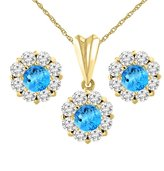 Sabrina Silver 14K Yellow Gold Natural Swiss Topaz Earrings and Pendant Set with Diamond Halo Round 6 mm