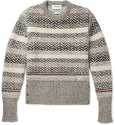Thom Browne Striped Mélange Wool And Mohair-blend Sweater - Gray