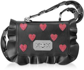 RED Valentino Red Heart Printed Leather Rock Ruffle Bag