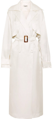 MATÉRIEL Belted Silk-satin Trench Coat - White