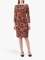 Hobbs Sacha Dress, Navy/Orange