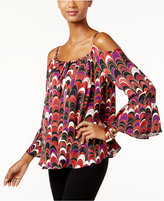 INC International Concepts Petite Printed Cold-Shoulder Top, Only at Macy's