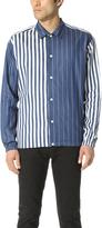 TOMORROWLAND Rope Striped Indigo Long Sleeve Shirt