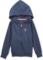 U.S. Polo Assn. Indigo Blue Heather Zip-Up Hoodie - Toddler & Girls