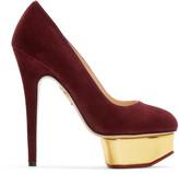 Charlotte Olympia Purple Suede Platform Dolly Heels