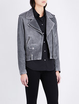 The Kooples Epaulette-detail suede biker jacket