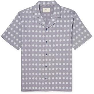Folk Camp-Collar Polka-Dot Linen And Cotton-Blend Shirt