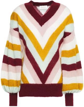 Zimmermann Fleeting Chevron Gathered Striped Mohair-blend Sweater