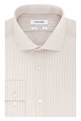 Calvin Klein Men's Dress Shirt Non Iron Stretch Slim Fit Check
