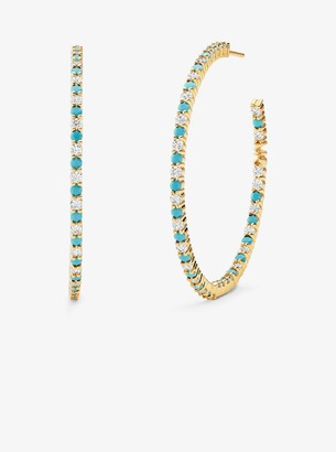 Michael Kors 14K Gold-Plated Sterling Silver Pave Oversized Hoop Earrings