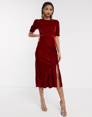 Asos Design DESIGN velvet bias midi dress with puff sleeves-Red