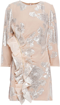 Self-Portrait Ruffled Metallic Fil Coupe Silk-blend Mini Dress
