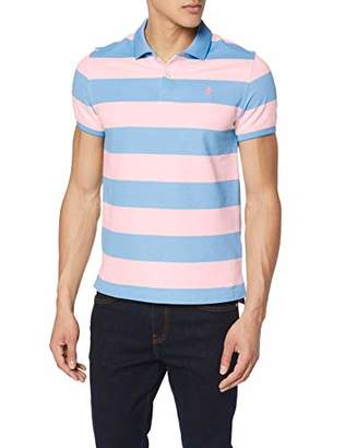 Izod Men's Performance Rugby Stripe Polo Shirt, (Candy Pink 660), L