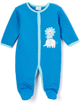 Bon Bebe Bright Blue Lion & Elephant Appliqué Quilted Footie