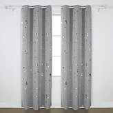 Deconovo Fashion Silver Dots Foil Printed on Light Grey Thermal Insulated Blackout Grommet Curtains for Girl's Bedroom 42W x 84L 1 Pair
