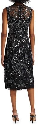Reem Acra Sleeveless Beaded & Embroidered Dress