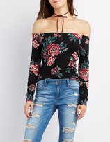 Charlotte Russe Floral Off-The-Shoulder Fitted Top