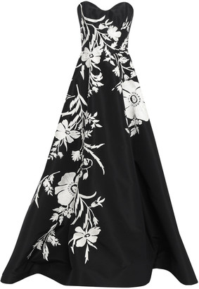Carolina Herrera Strapless Embellished Silk-faille Gown
