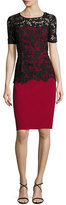 Sachin + Babi Short-Sleeve Lace-Overlay Crepe Sheath Dress, Garnet