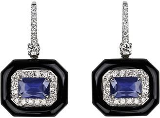 Nikos Koulis 18k White Gold Oui Diamond & Sapphire Earrings, 0.56tcw