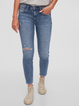 Gap Mid Rise Distressed True Skinny Jeans