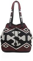 Tory Burch Large Woven Multicolor Leather Drawstring Bag