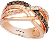 LeVian Le Vian Chocolatier® Diamond Weave-Style Ring (5/8 ct. t.w.) in 14k Rose Gold