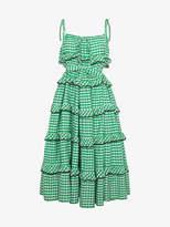 Innika Choo avens scalloped gingham frilled dress