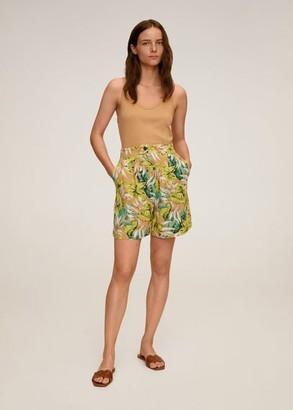 MANGO Tropical print shorts yellow - XS - Women