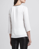 Milly Front-Zip Silk Top
