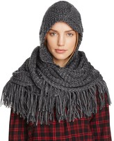 Free People Hooded Cable Knit Fringe Scarf