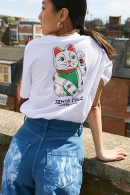 Santa Cruz White Lucky Cat T-Shirt - White UK 6 at Urban Outfitters