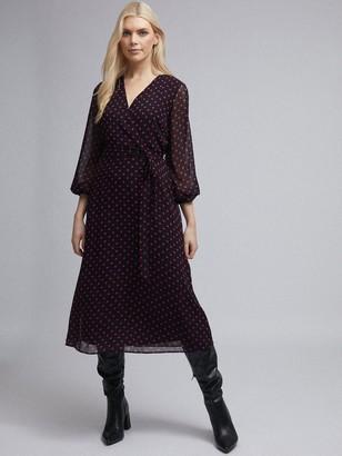 Dorothy Perkins Polka Dot Long Sleeve Chiffon Wrap Midi Dress - Black