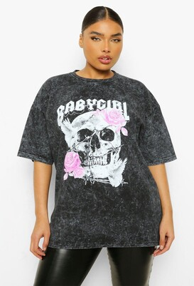 boohoo Plus Skull Baby Girl Acid Wash Boyfriend T-shirt