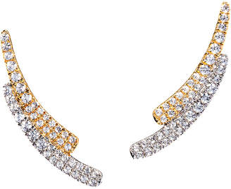 Graziela Gems Curve Gold Over Silver 0.89 Ct. Tw. Natural White Zircon Ear Climbers