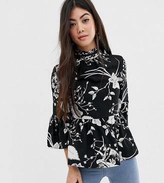Vero Moda Petite high neck smock blouse-Multi