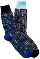 Jared Lang Basketweave Stripes Crew Sock - Pack of 2