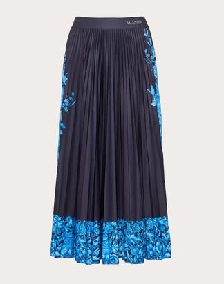 Valentino Printed Jersey Skirt Women Blue Polyester 100% S