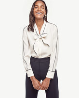 Ann Taylor Petite Piped Tie Neck Blouse