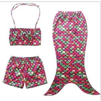Online Girls' Mermaid Swimsuit - Colored Scales - M