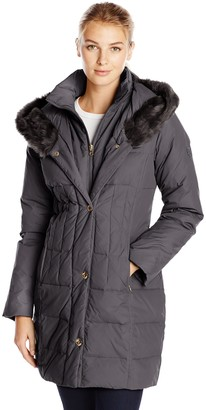 Larry Levine Women's Hooded 3/4 Length Down Filled Coat