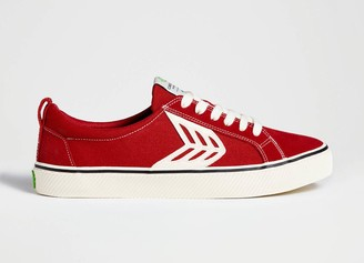 Cariuma CATIBA Low Stripe Samba Red Suede and Canvas Contrast Thread Sneaker Men