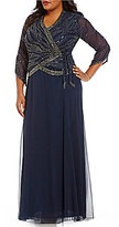 J Kara Plus Beaded V-Neck 3/4 Sleeve Wrap Chiffon Skirt Gown