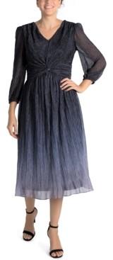 Julia Jordan Pleated Mesh Ombre Midi Dress