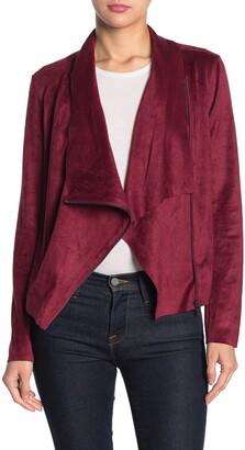 Blanknyc Denim Drape Front Faux Suede Jacket