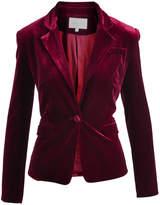 Lucy Paris Burgundy Velvet Classic Blazer