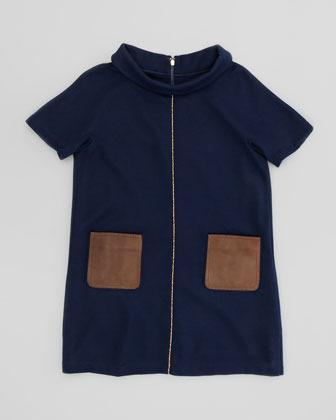 Fendi Girls' Leather-Pocket Shift Dress, Navy, Sizes 6-9