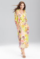 Josie Natori Floral Print Silk Caftan