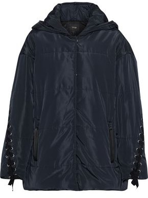 Maje Guelone Lace-up Quilted Shell Hooded Jacket