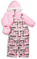 London Fog Baby Girls Faux Fur Trimmed Snow Suit Set